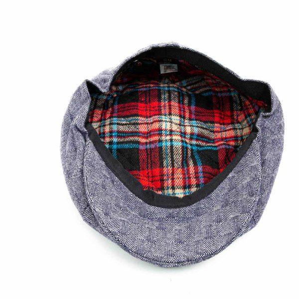Cappello Baker Boy Hat Blu Quadretti Clamor Glamour Dettaglio Interno
