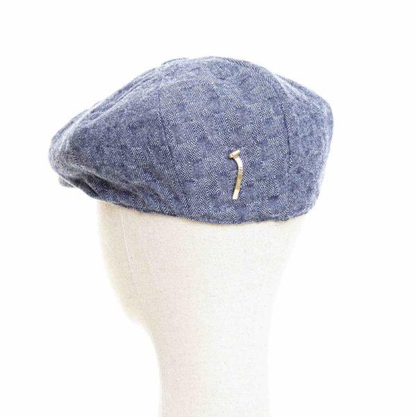 Cappello Baker Boy Hat Blu Quadretti Clamor Glamour Retro
