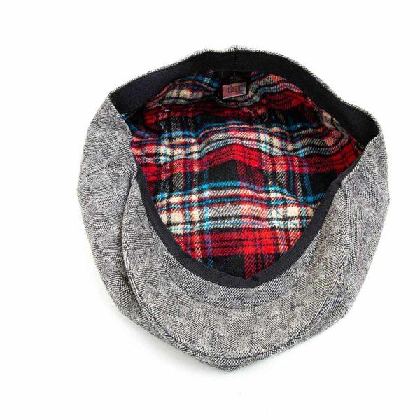Cappello Baker Boy Hat Grigio Chiaro Quadretti Clamor Glamour Dettaglio Interno