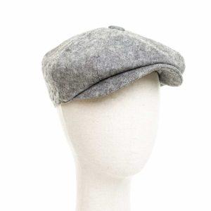 Cappello Baker Boy Hat Grigio Chiaro Quadretti Clamor Glamour Fronte