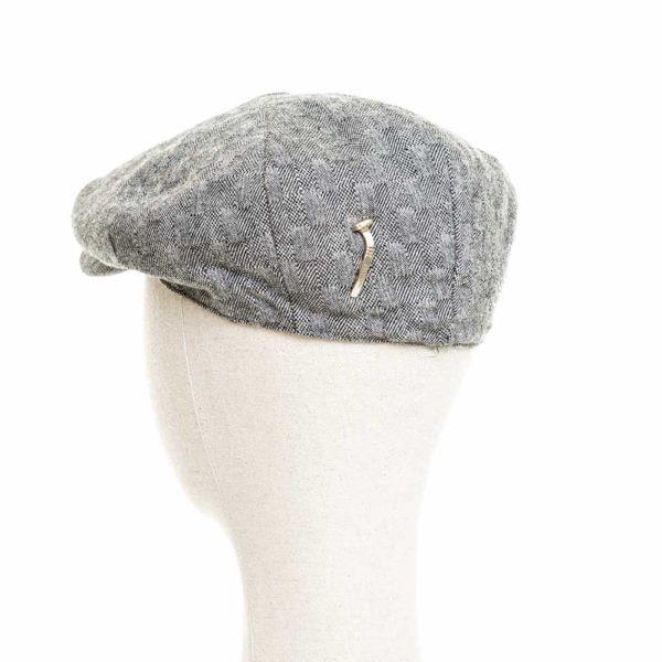 Cappello Baker Boy Hat Grigio Chiaro Quadretti Clamor Glamour Retro