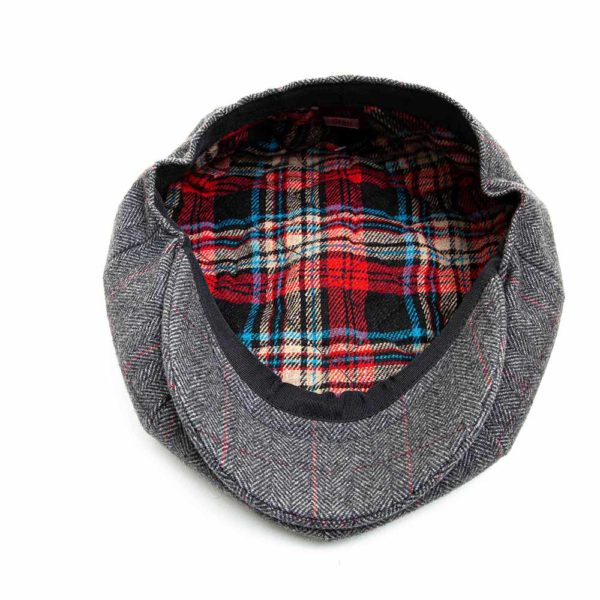 Cappello Baker Boy Hat Grigio Chiaro Spinato Fine Clamor Glamour Dettaglio Interno
