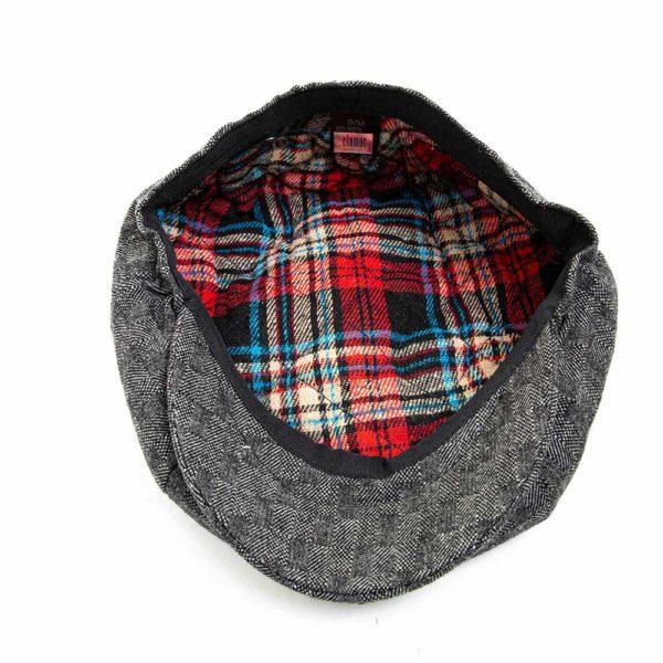 Cappello Baker Boy Hat Grigio Scuro Quadretti Clamor Glamour Dettaglio Interno