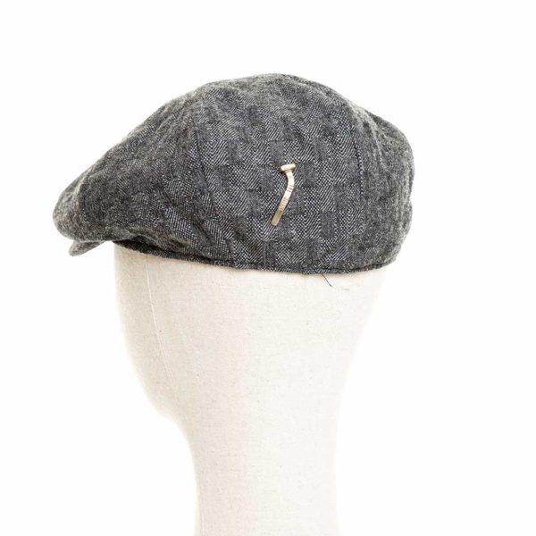 Cappello Baker Boy Hat Grigio Scuro Quadretti Clamor Glamour Retro