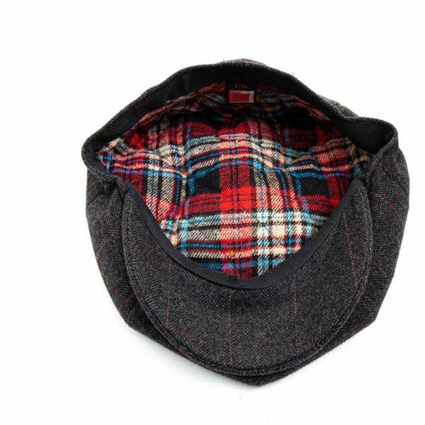 Cappello Baker Boy Hat Grigio Scuro Spinato Fine Clamor Glamour Dettaglio Interno