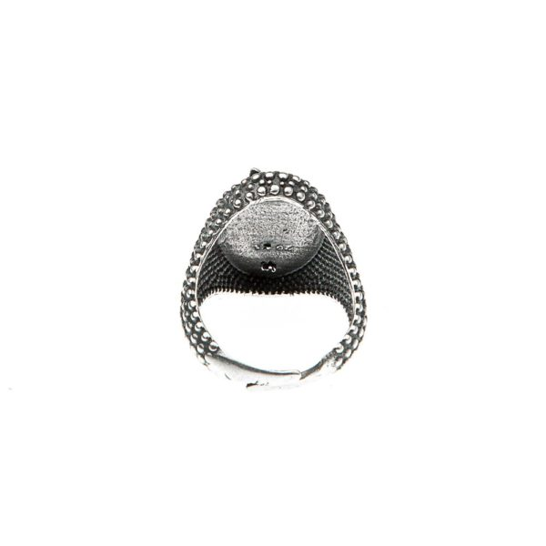 Anello Piuma Puntinato Ovale Argento Regolabile Made in Italy Clamor Glamour Linea Glamour