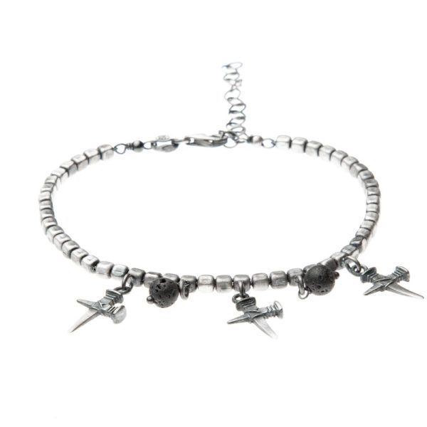Bracciale Chiodo Croce Charms Argento Made in Italy Clamor Glamour Linea Clamor
