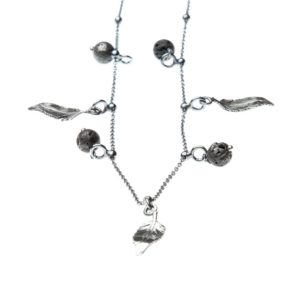Collana Piuma Charms Argento Made in Italy Clamor Glamour Linea Glamour